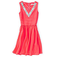 GB Girls 7-16 Embroidered Swing Dress - Hot Pink