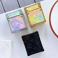 LV Louis Vuitton New fashion monogram print iphone reflective laser headset couple protective case  ( No headset )