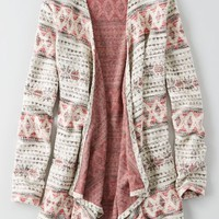 AEO Women's Feather Light Open Cardigan (Grey)