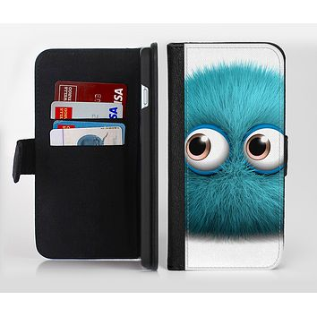 The Teal Fuzzy Wuzzy Ink-Fuzed Leather Folding Wallet Credit-Card Case for the Apple iPhone 6/6s, 6/6s Plus, 5/5s and 5c