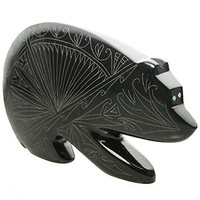 Etched Bear Zuni Fetish by Jonathan Natewa Carved in Belgian Marble | Whisperingtree.net
