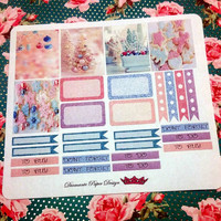 28 kiss cut and ready to peel off Pastel Christmas Stickers! Perfect for your Erin Condren Life Planner, Filofax, Kikkik, Plum Paper