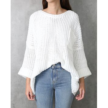 Odette Oversized Cuffed Chenille Knit Sweater in White