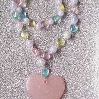 Magical Heart - Iridescent Pastel Beads and Glitter Heart Charm Necklace with Matching Stretch Bracelet