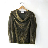 STOREWIDE SALE. 80s gold shirt. shimmer top. new year eves party blouse.