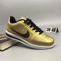 """""""NIKE"""" Fashion Casual Leather Surface Breathable Holes Thick Bottom Unisex Sneakers Couple Running Shoes"""