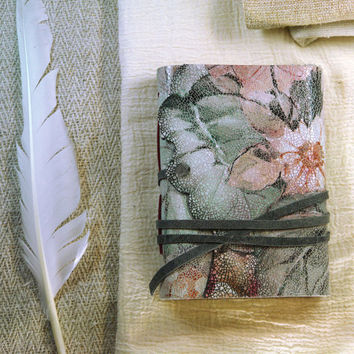 SALE floral leather journal, vintage style journal, notebook, diary, Little Garden