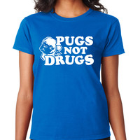Royal Pugs Not Drugs Crewneck Tee