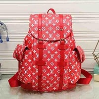 LV Louis Vuitton Popular Women Monogram Leather Bookbag Shoulder Bag Handbag Backpack Red I/A