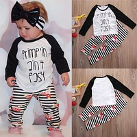 Boutique Kids Baby Toddler Girls Clothes Set T-shirt Letter Flower Tops Pants Sttiped Leggings Girl Clothing Outfits