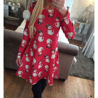 Christmas snowman snowflake print dress