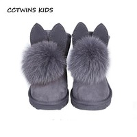 CCTWINS KIDS 2018 Sheepskin Winter Fashion Children Boot Baby Girl Brand Warm Wool Snow Boots Toddler Leather Shoes Boys CS1537