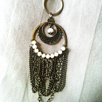 Antique Gold, Metal Keychain with Chain and Faux Pearls