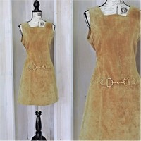 Vintage leather dress size 6 / 7 / 80s does 60s hippie suede dress / mod / retro / go go /  boho