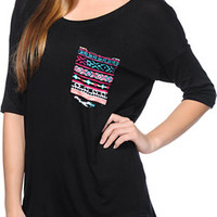 Lunachix Multicolor Tribal Print Pocket Black Tee Shirt