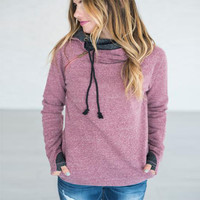 Hats Winter Women's Fashion Patchwork Long Sleeve Hoodies [9605439695]