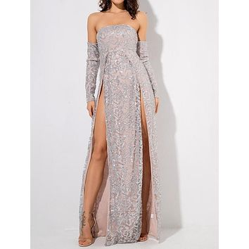 Vanderlily Long-Sleeved Silver Sequin Detailed Maxi Gown