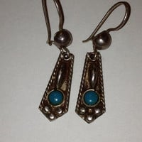 Taxco Turquoise Sterling Earrings 925 Silver Mexico Mexican Vintage Southwestern Jewelry Christmas Holiday Birthday Gift Blue Xmas Boho