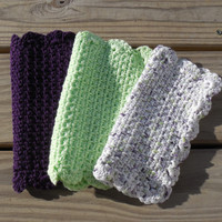 Crochet Dishcloth or Washcloth, Pistache, Purple and Limedot Ombre, 100% Cotton Clothes, Eco-friendly, Set of 3