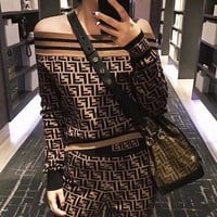 FENDI Classic Trending Women Stylish Long Sleeve Off Shoulder Knit Top Sweater Pullover Sweatshirt Pants Two-Piece I/A