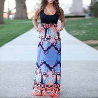 Floral Sleeveless High Waist A-Line Maxi Dress