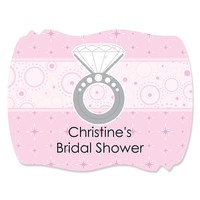 With This Ring - Personalized Bridal Shower Squiggle Sticker Labels - 16 ct