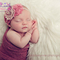 Newborn Girl Baby Headband in Dusty Pink Shabby Chic Headband, newborn baby girl hair band photography props - vintage couture boutique