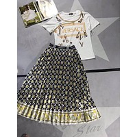 """Versace"" Woman's Leisure Fashion Personality Letter  Printing Spell Color Short Sleeve Tops Long Skirt Two-Piece Set Casual Wear"