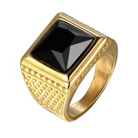 Gold Tone Ring Stainless Steel Mens Black Stone
