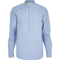 River Island MensBlue textured over head shirt