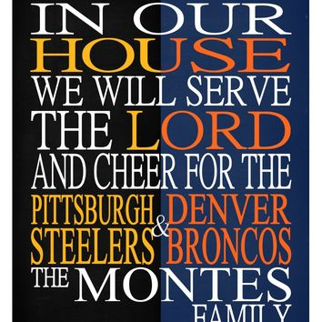 A House Divided Pittsburgh Steeleres & Denver Broncos personalized family print poster Christian gift sports wall art - multiple sizes