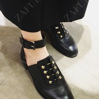 Ankle Strap Metal Cut Out Flat Shoes