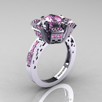 Modern French 14K White Gold Light Pink Sapphire Wedding Ring, Engagement Ring R224-14KWGLPS