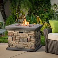 Crawford Outdoor Square Liquid Propane Fire Pit with Lava Rocks