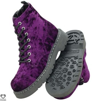 Purple Velvet 7 Eye | COMBAT BOOT