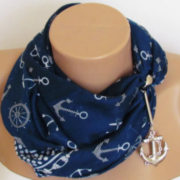 SPRING SCARF. Anchor Scarf. Headband. Necklace. For 4 seasons. Dark Blue.