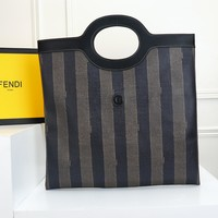 FENDI WOMEN'S FF ZUCCA CANVAS KAN HANDBAG TOTE BAG SHOULDER BAG