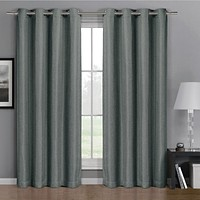 Grey 52x63 Gulfport Faux Linen Blackout Weave Grommet Window Curtain (Single Panel)