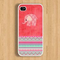 The Elephant on Watermelon Pink and Aztec Design: Iphone 4/4s case Iphone 5 case