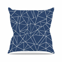 """Project M """"Abstraction Outline Navy"""" Blue Abstract Outdoor Throw Pillow"""