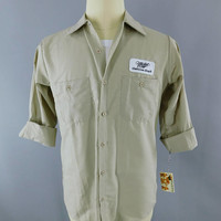 Miller Genuine Draft Beer / Delivery Man / Tan MEDIUM Long Sleeve / Work Shirt / Beer Patch / Patches