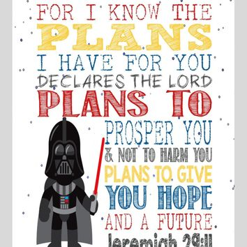 Darth Vader Christian Star Wars Nursery Decor Print, For I Know The Plans I Have For You - Jeremiah 29:11