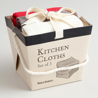 Red, Gray and White Take-Out Box Dishcloths - World Market