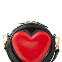 Black Patent Leather Heart Crossbody Mini