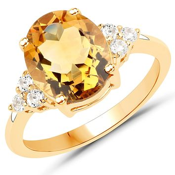 Natural 10K Yellow Gold 3CT Oval Cut Yellow Citrine Engagement Ring