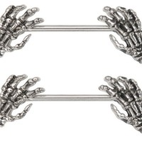 Nipple Ring Skeleton Hands bar body Jewelry sold as Pair 14g 9/16""
