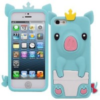 Fosmon JEL Series Silicone 3D Pig Case for Apple iPhone 5 / 5S (Sky Blue)