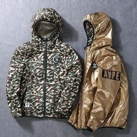 Bape Jacket Gold Camouflage Men Strong Character Double Sided Windbreaker [429892894756]