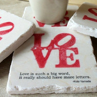 $18.00 Drink Coaster Set Love is Such a Big Word Set of 4 by MyLittleChick