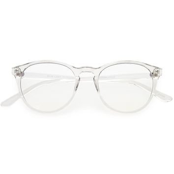 Vintage-Inspired Keyhole Accented Blue Light Blocking Round Glasses D241